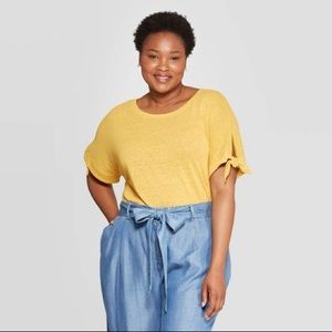 Ava & Viv • yellow top with tie sleeves